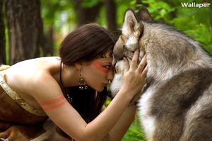 Photoshop, Woman and Wolf, Free Wallaper by WhiteDonut