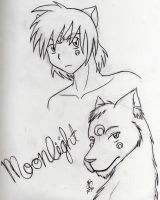 Moonlight - human and wolf by babybluedreams
