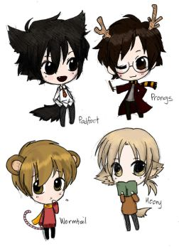 Moony, Wormtail, Padfoot, and Prongs by The-Ghost-Writer