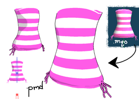 Strapless striped top Download by Shioku-990