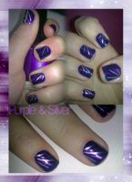 Purple + Silver Nail Art by JemNailArt