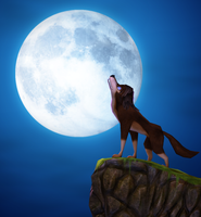 Wolf and the moon by bosman697