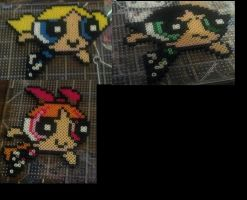 Powerpuff girls, Blossom, Bubble, Buttercup perler by hyliacupcake
