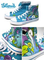 blue Dino Chucks by Bobsmade