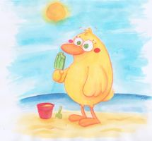 Duck on Beach by Frog-FrogBR