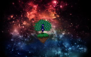 Peackock in space - wallpaper by Marry-Adinka