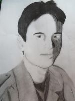 Self Portrait attempt (charcoal drawing) by KevlarKatana