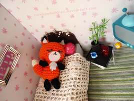 AT: Sleeping Fox Amigurumi by Rainbowbubbles