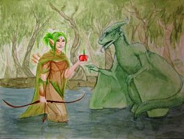 Meeting a swamp dragon by Lmih