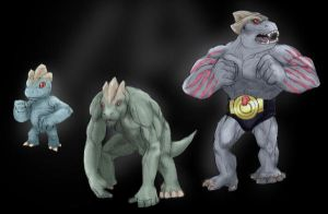 Machop and Machoke by RtRadke