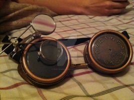 Steampunk Time traveler/ scientist goggles by Prof-Peabody
