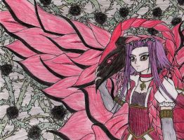 Aki And her Dragon Colored by angelpinkrose