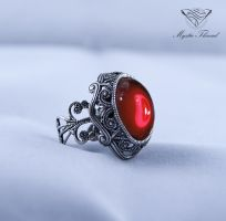 Ruby gem gothic victorian adjustable ring by mysticthread