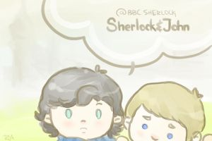 Sherlock and John Postcard by SaerwenApsenniel