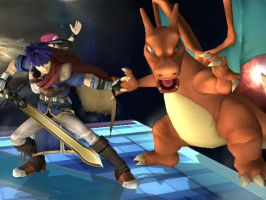 Ike and Charizard SSBB Picture by YoshiLuigi45