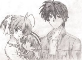 Nagisa, Ushio and Tomoya by Bonzo537