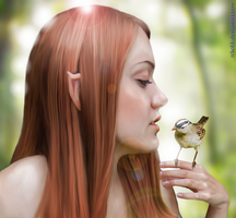 Elven Girl with Bird by rckobb