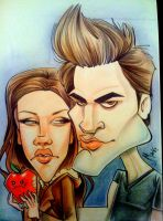 Bella and Edward caricature by marcocano