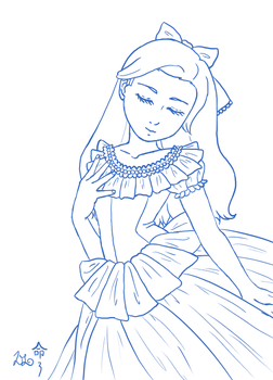 Lineart - Lady Rofina lineart by heroes-of-thedas