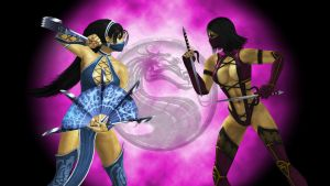 Kitana vs. Mileena by n1kgor
