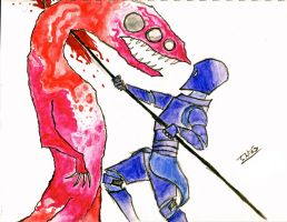 Blue Knight Stabbing Pink Dragon by JakeHGuy