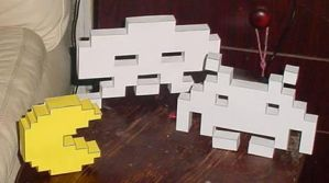 Pac Man and Space Invaders by paperart
