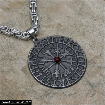 Large Viking Compass on Byzantine Chain by GoodSpiritWolf