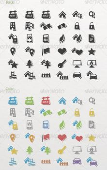 36 Real Estate Icons in black and color by etnocad