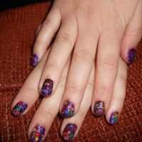 purple brown gold glitter nail art by Agathanaomi