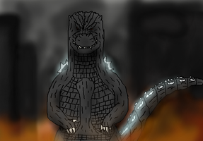 Bow down to Godzilla by TheSpiderAdventurer