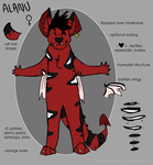 Alanu anthro ref sheet by painted-flamingo