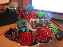 Duck Tape Bouquet For Valentine by DarkestFae5190