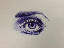 Eye Doodle In Ballpoint Pen by TheOmOfNom