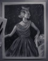 A girl on silk dress - Charcoal sketch by JPerezS