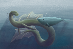A Green Sea Monster by HeatherBea
