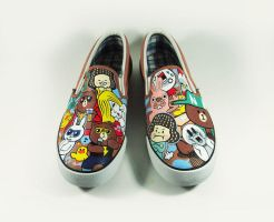 Sticker line , custom shoes by Annatarhouse