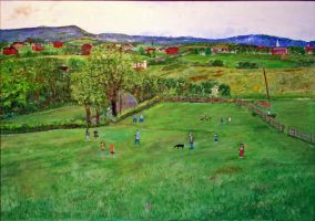 Baseball on the Lawn in Oil by CarolynYM