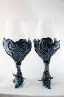 Polymer clay leaf wine glasses by ArtfulParadox