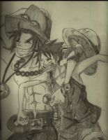 Ace and Luffy Sketch by l0lStephxl0l