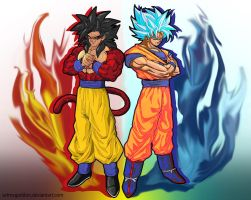 Goku Ssj 4 And God Mode  by ARTmageddon