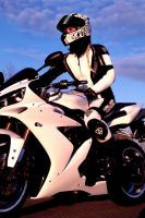 Yamaha R1 - Girl on Bike by KaylaDavion