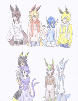 Eeveelutions gijinka by Kaeghlighn