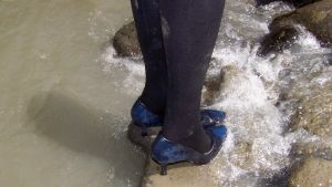 Nadia Wading River in Navy Heels and Black Tights by peerlesspenny