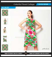 Colorful Floral Collage Textile Pattern by danfleites