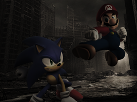 Mario vs. Sonic by JumpmanDA