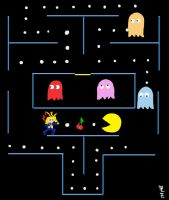 Pac Man Gimme' the Cherries by CaffeinatedPokedex