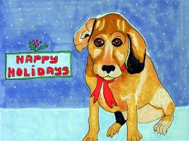 Holiday Card referenced Mark Sheinin's cute puppy by Lou-in-Canada