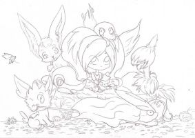 All the Pokegroup - Lineart by Rena-Circa