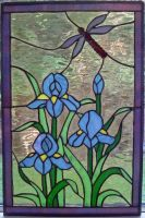 Stained Glass Iris Dragonfly by sandevolver