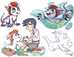 Gomamon and Joe by sharkie19